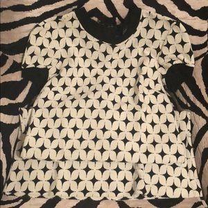 Zara black and off white diamond mini dress